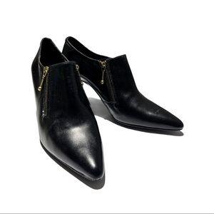 Vintage Perabo Blk Leather Heel Booties Size 5.5B